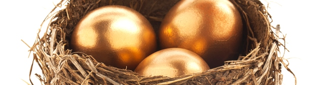 Gold eggs in a basket