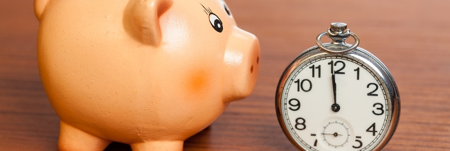Piggie bank and stopwatch